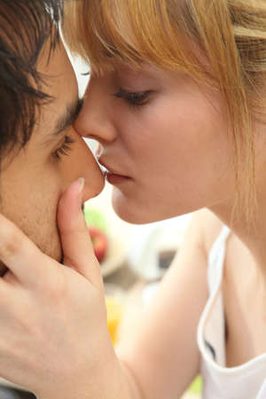 passionate couple: Young couple kiss Stock Photo