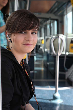 Teenage girl on the tram photo