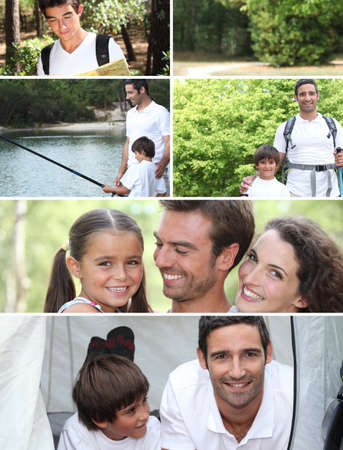 Collage illustrating a family camping holiday Stock Photo - 12093006