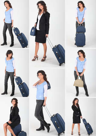 woman and luggages photo