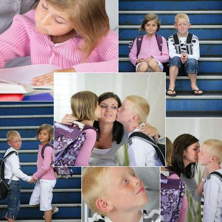 satchel: Kids going to school Stock Photo