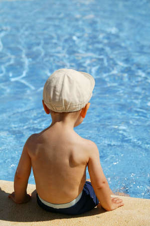 hot boy: little boy in the swimming pool