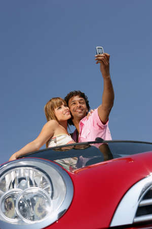 Couple taking a picture of themselves Stock Photo - 12091396