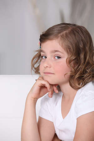 Serious young girl photo