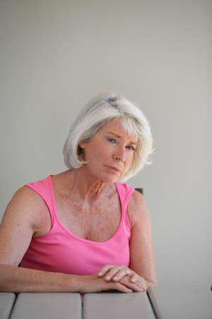 senior depression: Lonely old lady