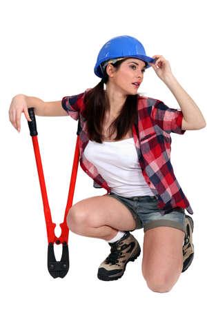 sexy construction worker: Sexy handyman. Stock Photo