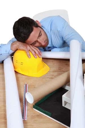 siesta: Architect sleeping on the job Stock Photo