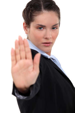 immobilize: Woman making stop gesture Stock Photo