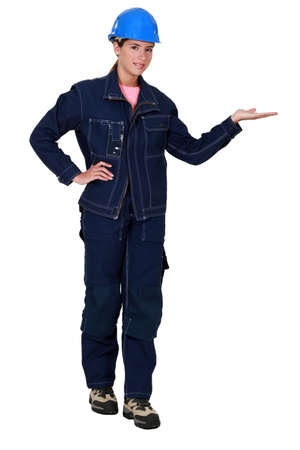 empty handed: Tradeswoman dressed in denim clothing