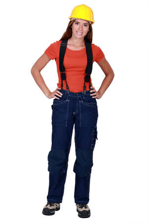 dungarees: Female worker in dungarees Stock Photo