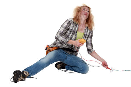 power failure: Worker receiving an electric shock