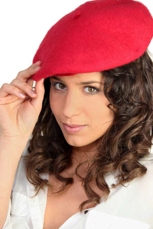 Brunette in a red beret Stock Photo - 12093013