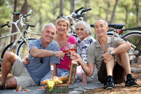 picnic blanket: Dos parejas mayores disfrutando de un picnic en el bosque