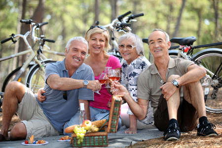 elderly couples: Two older couples enjoying a picnic in the woods Stock Photo