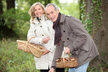 senior couple gathering mushrooms photo