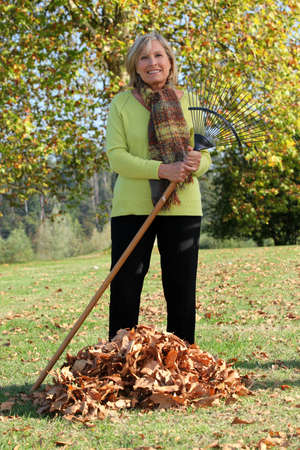 Woman raking up the autumn leaves photo