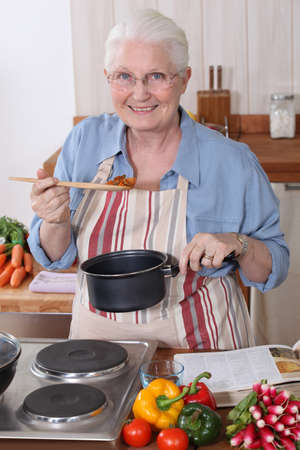 Grandmother cooking. photo