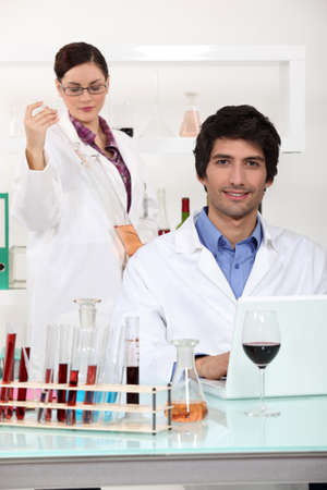wine expert in a lab Stock Photo - 12091839