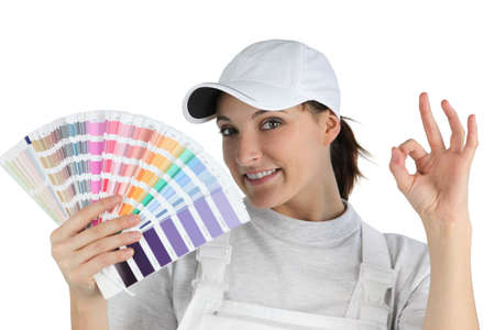 color fan: Decorator holding swatch Stock Photo