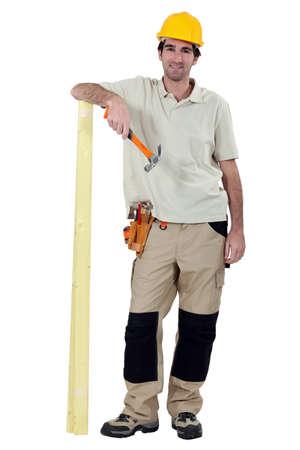 woodworker: Smiling laborer, studio shot