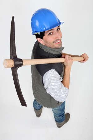 mattock: Builder with a pickaxe