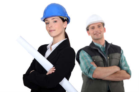 craftsman and businesswoman posing together Stock Photo - 12132231