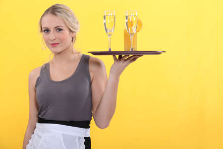 portrait of a waitress Stock Photo - 12132376