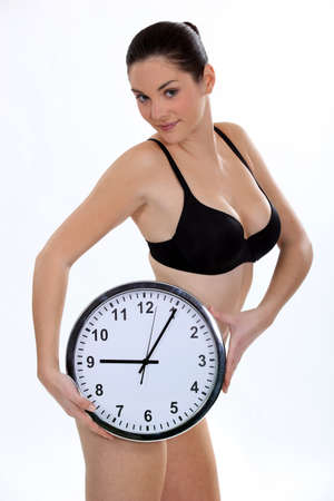 supported: Brunette with clock