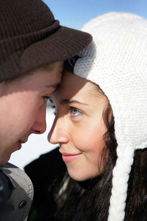 Young love in winter photo