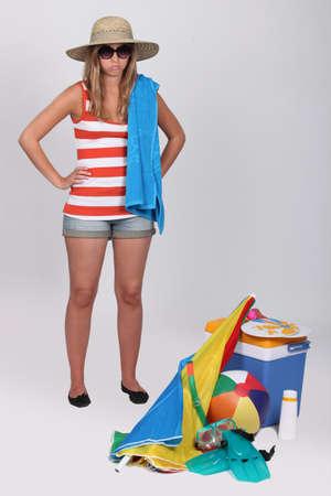 beach wear: Unhappy teenager wearing beach wear