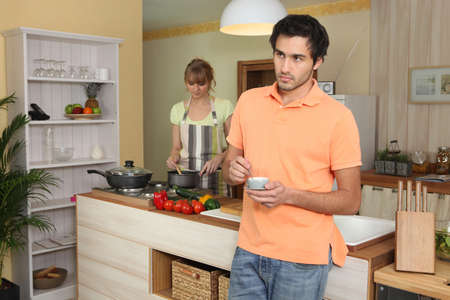 Couple in a kitchen photo