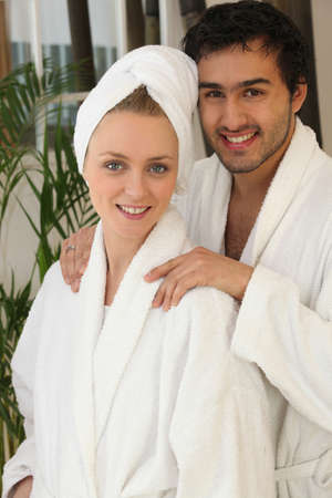 bathtowel: Couple in bathroom