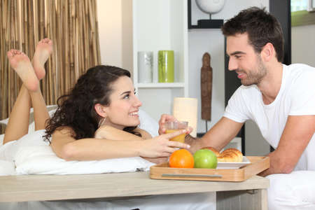 Surprise breakfast in bed Stock Photo - 12133042