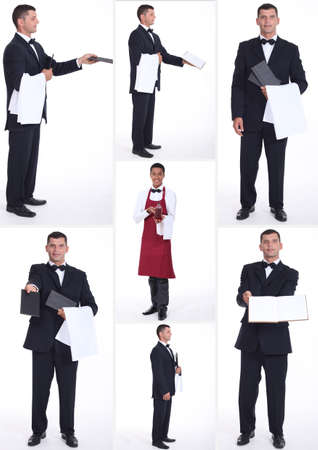waiter serving: Collage of hospitality workers