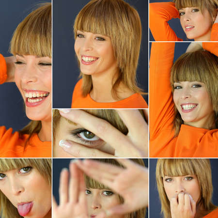 Collage of a woman wearing an orange shirt photo