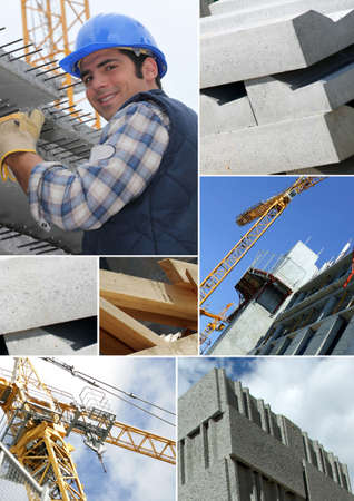 foremaster: Photomontage of a construction worker on a site Stock Photo