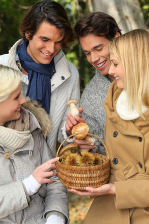 Two couples gathered around basket of mushrooms Stock Photo - 12133007