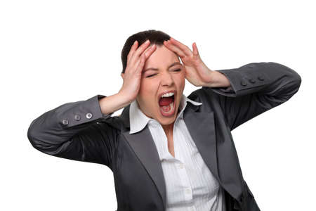 woman open mouth: woman in crisis Stock Photo