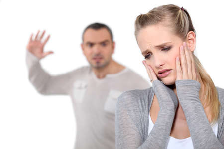 front raise: Domestic violence Stock Photo