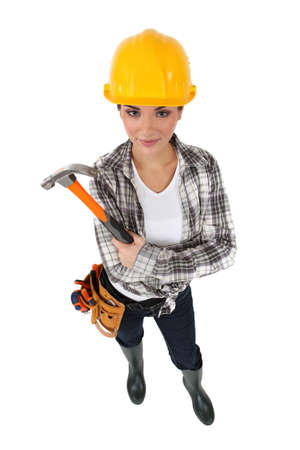 Woman holding hammer photo