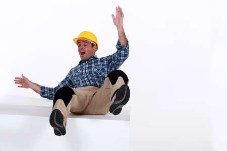 Construction worker falling Stock Photo - 12132388