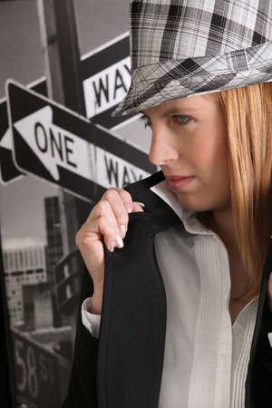 long nails: Fashionable woman wearing hat