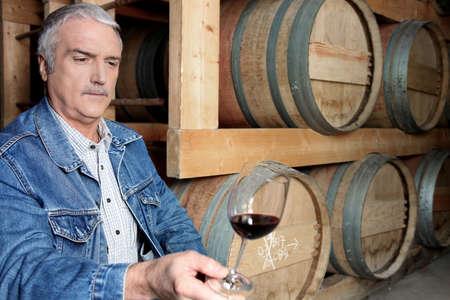 winemaking: Man tasting wine in cellar