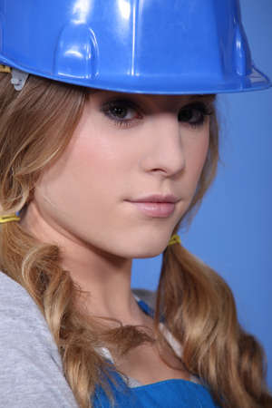 pouty: Close-up shot of an attractive tradeswoman
