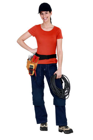 Female electrician raring to go photo