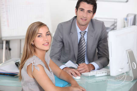 collaborator: man and woman in an office