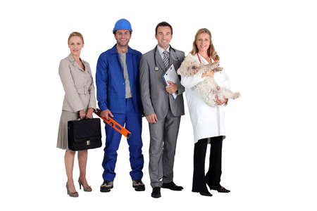 vetinary: Four different occupations Stock Photo