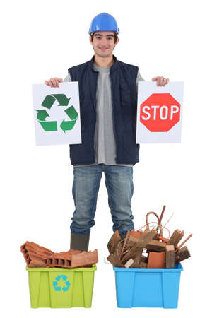 Builder with recyclable materials Stock Photo - 12217896
