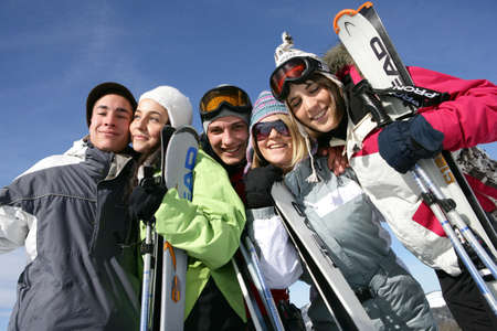 ski track: people at winter sports season Stock Photo