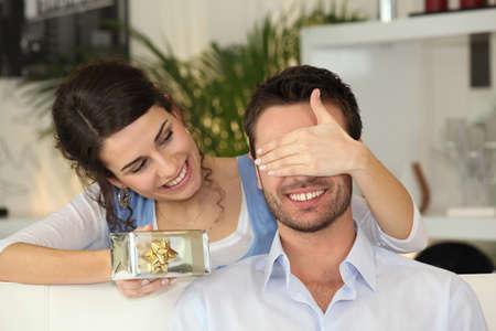 Young couple celebrating Valentine photo